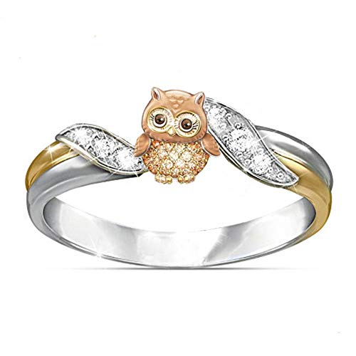 Tyoby Ladies Premium Fashion Owl Lettering Animal Ornament Ring Jewelry(Sliver,9)