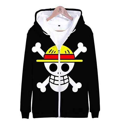 Imprimé en 3D One Piece Pirate Flag Sweat À Capuche Zippé À Manches Longues Et Zippé Sweatshirts Vêtements Pulls Haut Unisexe Apparel,M