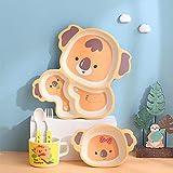 CherryBox Dinnerware Plate Set for Kids - Cartoon Design Crockery Set - Bamboo Fiber Eco Friendly (Koala Bear - 5 Pc Set)