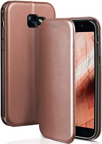 ONEFLOW® Premium Booklet mit unsichtbarem Magnetverschluss + Aufstellfunktion kompatibel mit Samsung Galaxy A5 (2017) | Exklusive Lederoptik, Rosé-Gold