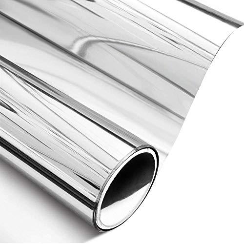 CGDX 40 x 100 cm einseitig verspiegelte Folie, Silberne Selbstklebende, blockierende, lichtreflektierende Fenstertönung, Sonnenschutzfolie mit Wärmesteuerung