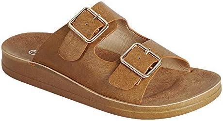 ShoBeautiful Women Casual Slides 2-Strap Adjustable Buckle Slip On Flat Sandals RC02