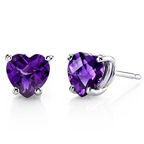 14 Karat White Gold Heart Shape 1.50 Carats Amethyst Stud Earrings