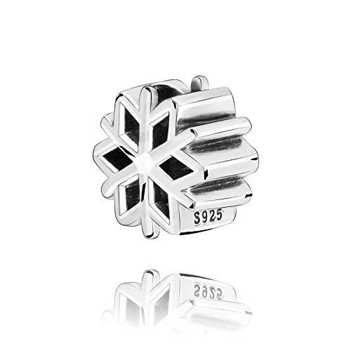 LILANG Pandora 925 Schmuck Armband natürliche Winter Ankunft Perlen poliert Schneeflocke Charme Frauen DIY Geschenk