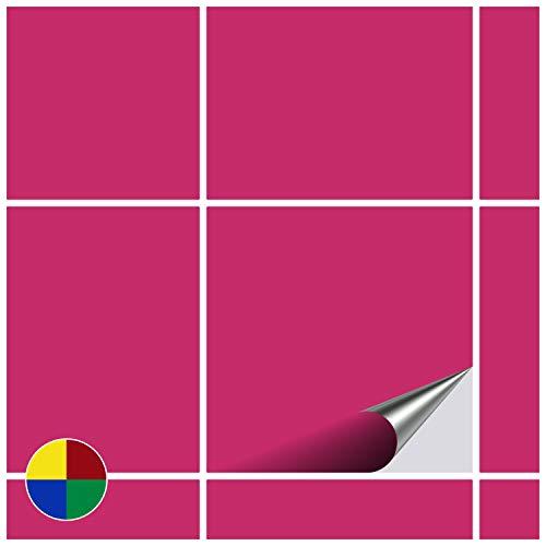FoLIESEN Fliesenaufkleber 20x20 cm - Fliesen-Folie Bad - Klebefolie Küche - 20 Klebefliesen, Pink matt