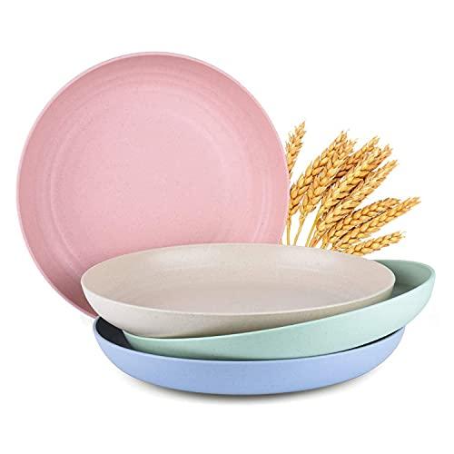 YumSur - Juego de 4 platos de cena profundas de paja de trigo de 7,6 cm, de plástico, resistentes al microondas y al lavavajillas, irrompibles