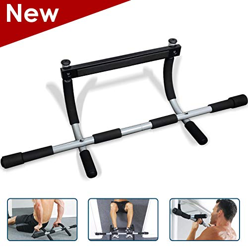 KBC Pull Up Bar for Doorway Chin Up Bar Easy Screw Installation Pull-up Bar Adjustable Width Locking Mechanism for Home Gym Exercise Fitness…
