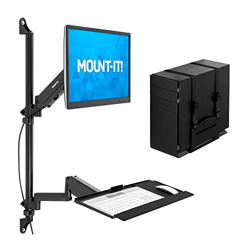 Mount-It! Wall Mount Workstation with Single Monitor Mount, Keyboard Tray and CPU Holder, Height Adjustable Full Motion Arms, Fits One 32 Inch Computer Screens