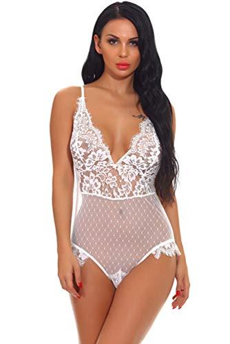 CMTOP Lencería sexy para mujer de encaje, pijama de encaje con escote en V Color blanco. L