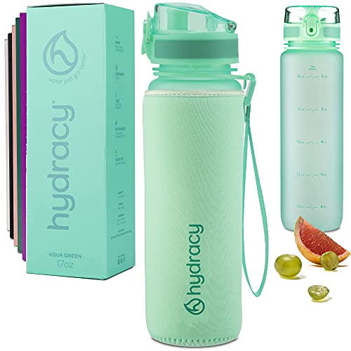 Hydracy Water Bottle with Time Marker - 500 ml 17 Oz BPA Free Water Bottle - Leak Proof & No Sweat Gym Bottle with Fruit Infuser Strainer - Ideal Gift for Fitness or Sports & Outdoors - Aqua Green