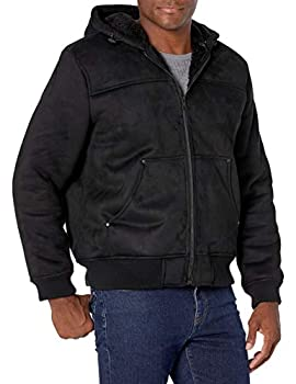G.H Bass & Co Men s Faux Shearling Sherpa Lined Hooded Bomber Jacket Black Medium