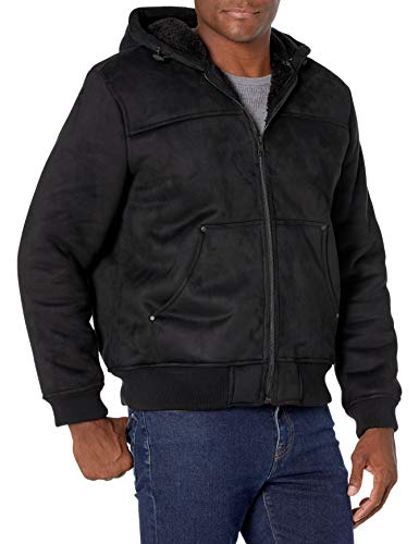 G.H. Bass & Co. Men's Faux Shearling Sherpa Lined Hooded Bomber Jacket, Black, X-Large