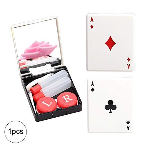 NiceButy Mini Kontaktlinse-Kasten - verspiegelte Travel Suit Fall mit Spiegel für Poker und Karten Formen für Familie und Reisen (zufällige Farben) Körperpflege