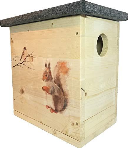 Nagerstore Eichhörnchenhaus Kobel mit Motiven & Schutzlasur