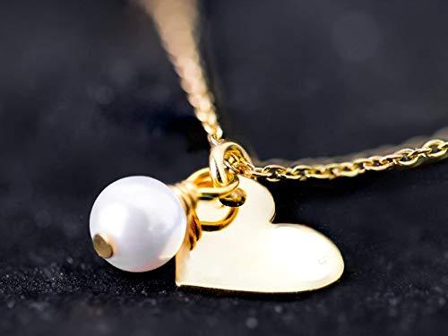 Perlen-Kette gold mit Herz-Anhänger, Perlen-Schmuck, Muschelkern-Perle, vergoldetes Silber 925, Geschenk für Sie, Talisman, Glücksbringer