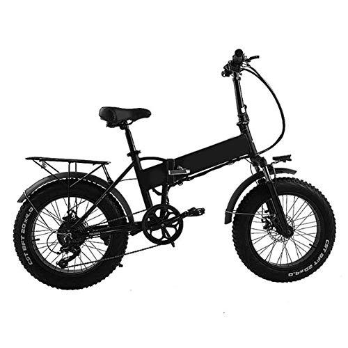 Elektrisches Fahrrad für Erwachsene 48v 500w 20inch Folding Fat Tire Bike Abnehmbare Lithium-Batterie-elektrische bicycle Professional 7 Geschwindigkeit Erwachsener Full Suspension E-bike,Schwarz