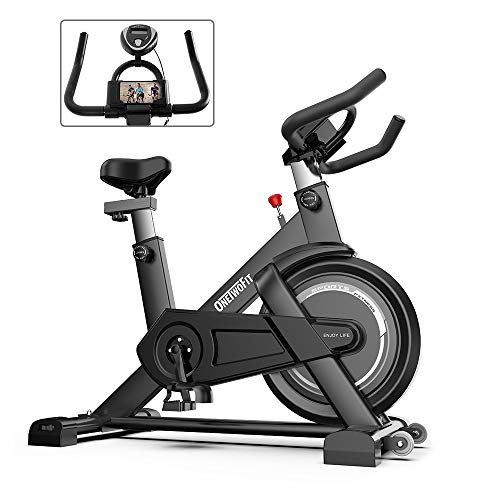 ONETWOFIT Indoor Exercise Bike with Monitor,Adjustable Seat & Handlebars Cycling Spinning Bike for Home Cardio Workout OT198