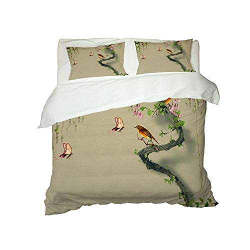 HJKGSX Duvet Cover Set Bedding 3 Pieces Microfiber Polyester Quilt Cover with 2 Pillow Cases Easy Care Anti Allergic Soft Smooth Bird branch55 x 78.7inch - Single