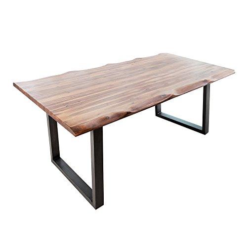 Invicta Interior Massiver Baumstamm Tisch Genesis 160cm Akazie Massivholz Baumkante Esstisch mit Kufengestell Konferenztisch