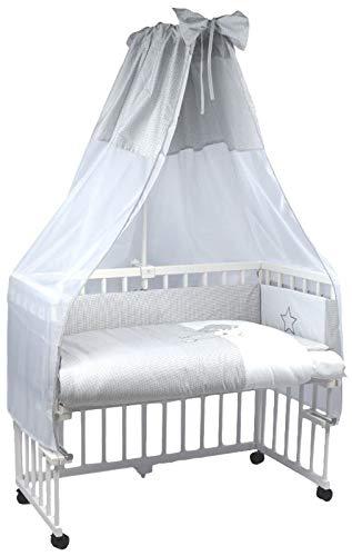 MamaLoes Beistellbett Baby komplett, mit Rollen und Matratze, Stubenwagen, komplett mit Ausstattung (grau), inklusive Himmelbett, 8-fach höhenverstellbar