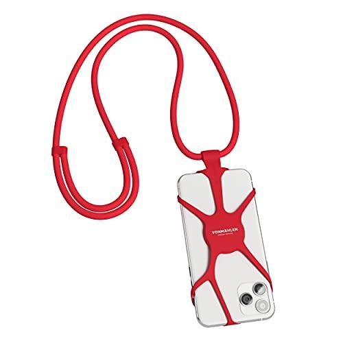 VONMÄHLEN - Infinity Handykette Universal zum Umhängen - Kompatibel mit jedem Handy & Smartphone - Silikon Hülle mit Handyband - Design Schoner aus Silikon - Handy-Umhängeband aus Nylon (Rot)