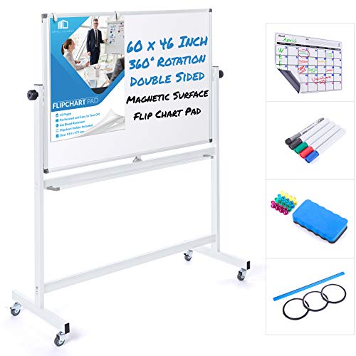 Mobile Whiteboard 60 x 46 Inch Double Sided Magnetic Dry Erase Board Large Rolling Stand Portable Easel Frame On Wheels Office Home Classroom 5 Markers, Calendar, Flip Chart, Eraser, 16 Magnets, Ruler
