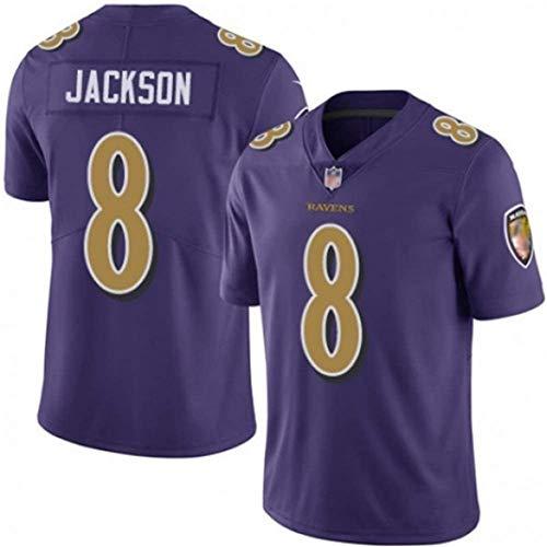 MMW - Camiseta de fútbol americano # 8 Lamar Jackson, edición de aficionados, camiseta deportiva de Baltimore Ravens, camiseta de rugby, tela bordada de manga corta, color morado, L (180 ~ 185 cm)