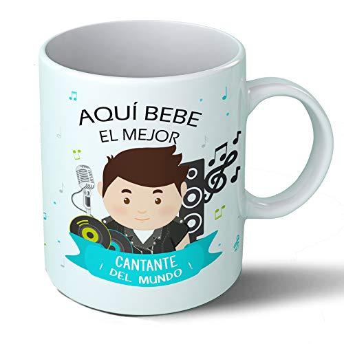 Planetacase Taza Desayuno Aquí Bebe el Mejor Cantante del Mundo Regalo Original Cantantes Ceramica 330 mL