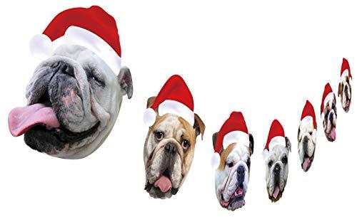 British Bulldog Christmas Garland, Dog Face Christmas Hanging Decorations