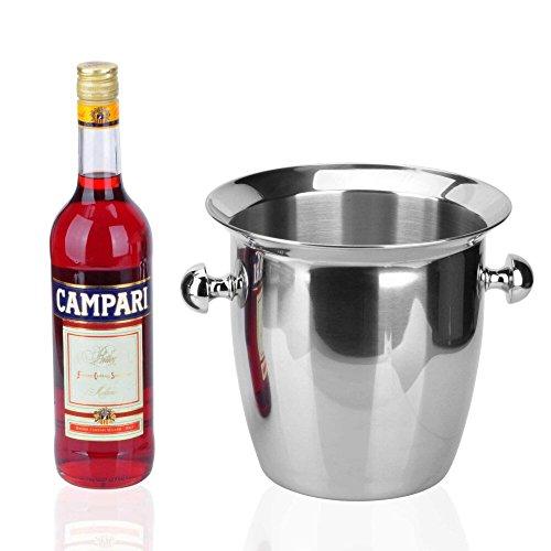 FTC Ice Bucket 5.6L Grande Doppio Orecchio Bocca Larga in Acciaio Inox Secchiello per Il Ghiaccio Secchiello per Il Ghiaccio Benna pratici Vino Hotel Bar Strumento 21x22.5x14.5 cm