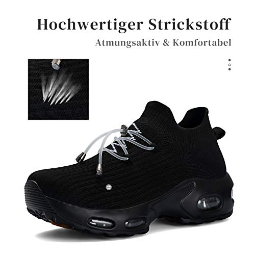 Mishansha Zapatos Deportivos Mujer Zapatillas de Deporte para Correr Running Antideslizante Gimnasio Bambas Negro A N, Gr.42 EU