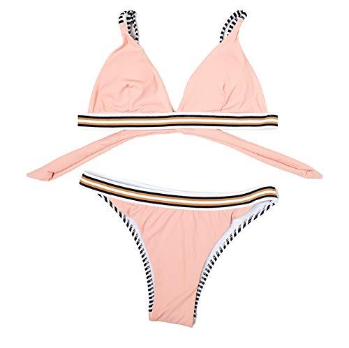 Mermaid Damen Bikini mit Dreiecks-BH, Badeanzug für Damen, verstellbar, mit elastischem Band, Pink 38