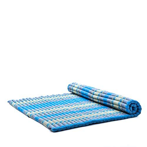 Leewadee Rollbare XL Thai Matte, 200x145x5 cm, Extrabreite Gästematratze Yogamatte Massagematte Ökologisches Naturprodukt, Kapok, hellblau