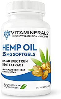 Vitaminerals Hemp Oil 750mg, 100% Pure, Natural Ingredients, Helps Cope with Anxiety & Pain, Promotes Relaxation, Vegan Friendly, Organic, Non-GMO Hemp (30 Softgels)