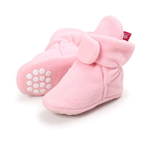 Botas de Niño Calcetín Invierno Soft Sole Crib Raya de Caliente Boots de Algodón para Bebés (6-12 Meses, Rosa-A, Tamaño de Etiqueta 12)
