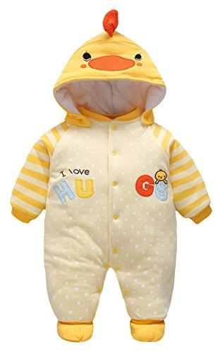 Y-BOA Costume Combinaison Barboteuse Capuche Dors Bien Bébé Fille Garçon Pyjama Coton Coq 6-9mois