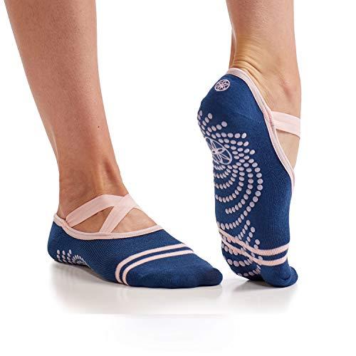 Gaiam Yoga Barre Socks Non Slip Sticky Toe Grip Accessories for Women & Men Pure Barre, Yoga, Pilates, Dance One Size Fits Most, Indigo