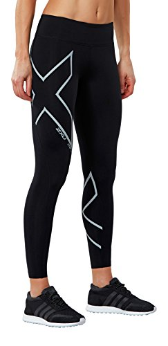 2XU Women's Hyoptik Mid-Rise Thermal Compression Tights, Black/Silver Reflective, X-Small