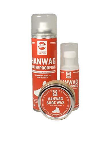 Hanwag Schuhpflege Komplett Set mit Shoe Wax, Care Sponge Waterproofing und Sari Mikrofasertuch