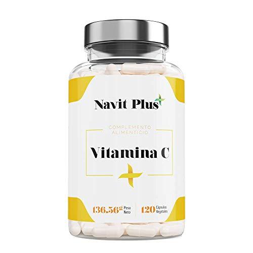 Vitamina C 1000 mg NAVIT PLUS. Suplemento nº1 en Vitamina C pura. Desarrollado y fabricado en España. Refuerza de manera natural tus defensas y dale luminosidad a tu piel. Suministro para 4 meses.