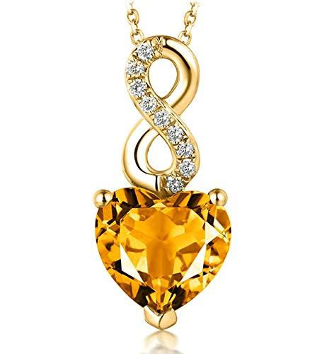 Epinki Mujer 18K Oro Collar 1.68ct Citrina Corazón Infinito Collares Mujer Fiesta