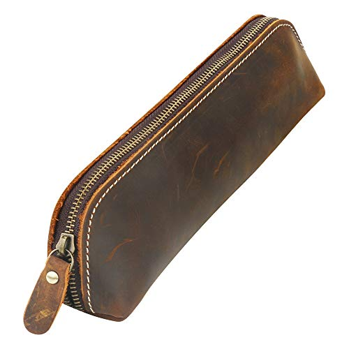 BestFire Vintage Leather Pencil Case, Pencil Bag Pouch with Zipper Pen Holder Handmade Genuine Leather Stationary Case for Students Businessmen and Artists Home Work Office
