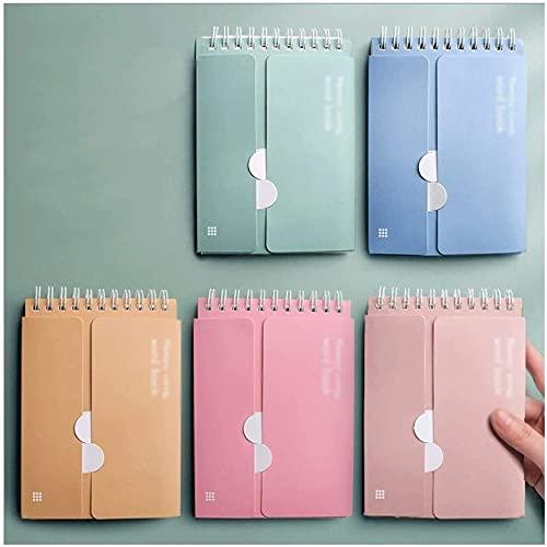 Linjolly Cuaderno portátil de Tipo de Anillo de Cuaderno, memoriza el Diario de Libros de Palabras, Color Claro/Diario de Color Oscuro, para Empresas Escolares, Papel Premium 3-10 Packs Journal