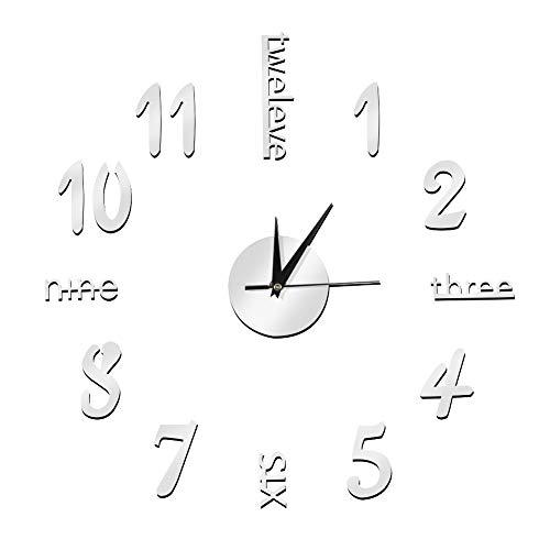 Haofy Etiqueta de la Pared Etiqueta engomada del Reloj Digital, Reloj de Pared DIY sin Marco Reloj de Pared Mudo Decorativo 3D para Sala de Estar Dormitorio Hogar(Plata)