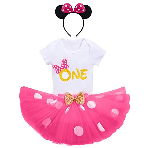 Baby Girl Birthday Minnie Cake Smash Outfit Infant Girl 1st Birthday Romper Jumpsuit Tutu Tulle Skirt with Headband Clothes Set Playsuit Sunsuit Age 1 Years Old Hot Pink one Dots