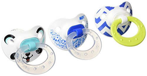 NUK Orthodontic Pacifier, 6-18 Months, Blue/Green, 3pk
