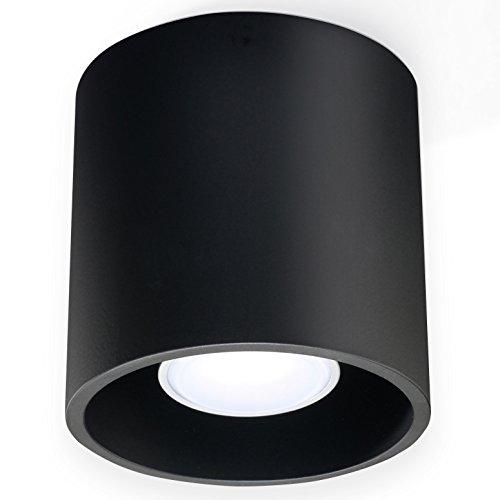 NOVEDAD! Plafón Negro de cocina y habitación - aluminio - SOLLUX ORBIS 1 SL.0016 lámpara de techo Loft redonda, estilo moderno, de luz única LED Gu-10 *** LÁMPARAS - Los precios más bajos en Amazon!