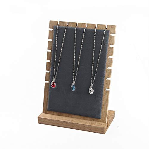 Caja Joyero Collar de tablón de bambú Collar de exhibición del soporte del collar del soporte de la pantalla, soporte de la pantalla del collar del tablón de madera, el soporte del almacenamiento del