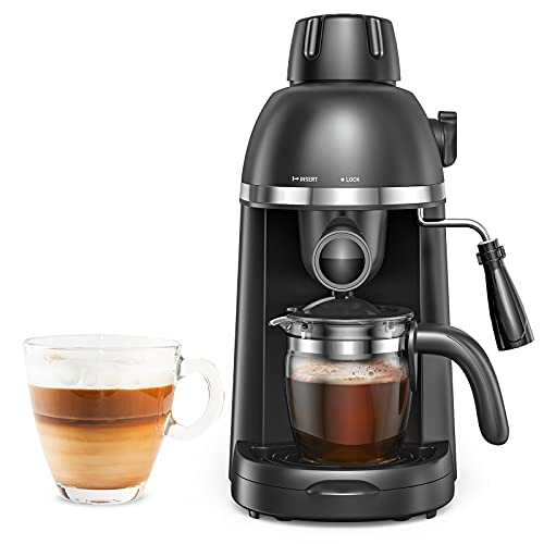 Steam Espresso Machine with Milk Frother, 1-4 Cup Expresso Coffee Maker, Cappuccino Latte Machine Includes Carafe, No Apply to Use Ground Espresso and Any Fine Ground Coffee
