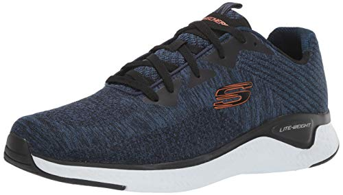 Skechers Solar Fuse-Kryzik, Zapatillas Hombre, Azul (NVBK Black Mesh/Synthetic/Black Trim), 44 EU